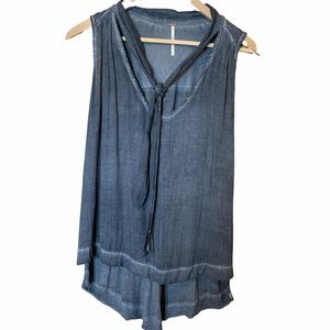 Free people blue sleeveless top size small